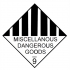 Label miscellaneous dangerous goods 9 20mm x 20 mm paper sel